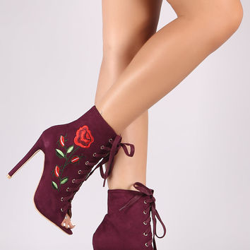 Suede Embroidered Rosette Stiletto Ankle Boots | UrbanOG