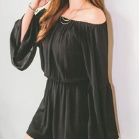 Casual Off Shoulder Plain Romper With Bell Sleeve