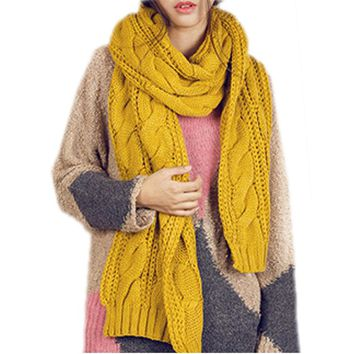 Ginger Yellow Cable Knit Cowl Neck Scarf