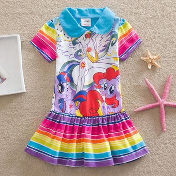 children dress casual baby girls clothing fashion 2017 summer cartoon little pony dress girl dress kids short sleeve dress