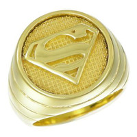 Superman Inspired Ring Yellow Gold Plated Sterling Silver Jewelry