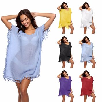 Beach Dress Cover Up Swimsuit Tunic New Chiffon Pure Color Bead Skirt Loose Shirt Plavky Coverups