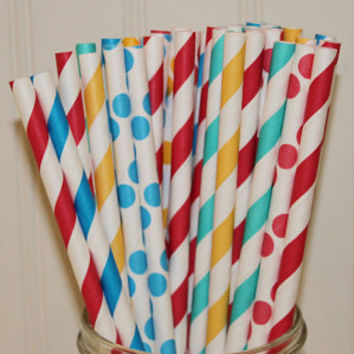 Paper Straws, CARNIVAL & Circus Party Paper Straws, Paper Straws, Retro, Vintage, Retro Drinking Straws, Party, Circus Kids Birthday, Cute