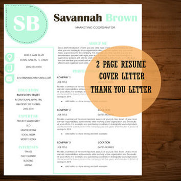 Teal Resume Template Creative Professional CV Design Cover Letter Printable
