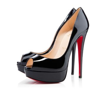 Sale Christian Louboutin Cl Lady Peep Black Patent Leather 150mm Stiletto Heel Classic