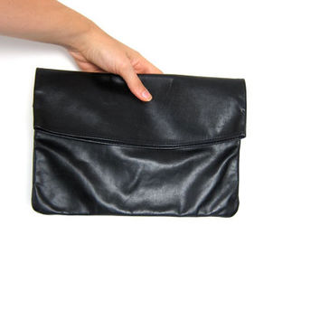 Vintage black leather clutch. Fold over leather bag. Slouchy leather handbag. Simple leather purse. Sexy clutch. Boho Glam.