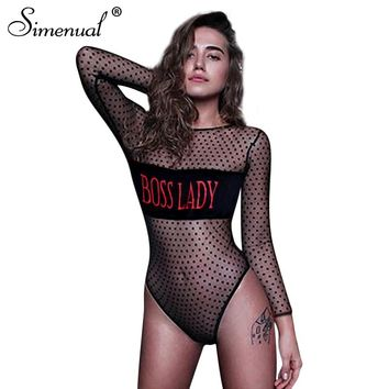 Simenual Transparent mesh bodysuits letter polka dot slim sexy hot teddy 2018 black see through fitness bodysuit women clothing