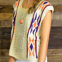 Navajo Dream Tribal Short Sleeve Sweater