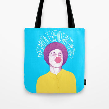 Does My Face Read Waste My Time Tote Bag by Ranggasme