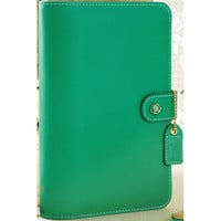 "NEW! Color Crush Faux Leather Personal Planner Binder 5.25""""X8""""-Summer Green"
