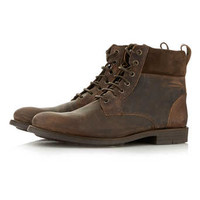 Brown Leather Cuff Boots - New In