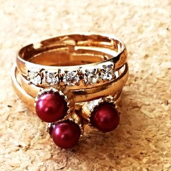 Pave and Pearl Ring Stack