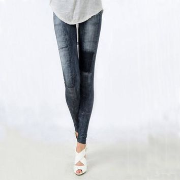 Women's Denim Leggings Skinny Slim Thin Black Jeans Legging Casual High Elastic Waist Pencil Pants Blue Denim Leggings for Women