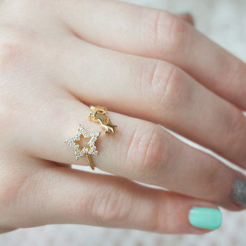 Adjustable crystal stars ring gold cubic zirconia star ring constellation ring mother's day gift bridesmaids gift for her