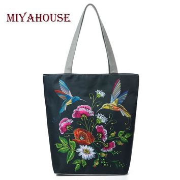 Miyahouse Retro Floral Print Beach Bags For Women Canvas Tote Handbags Birds Design Single Shoulder Bags Female Shopping Bag