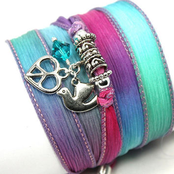 Hand Dyed Silk Wrap Bracelet-Twilight with Heart Shaped Peace Symbol, Peace Dove, and Aqua Swarovski Crystals
