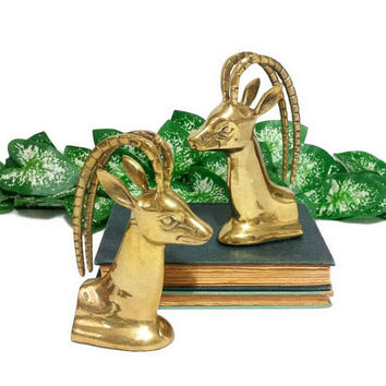 Brass Bookends Pair Gazelle Antelope Ram Vintage Mid Century Gold Library Home Office Decor Antler Animal Gift for Book Lovers Bibliophile