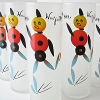 7 Vintage Glass Tumblers - Robots - 1950's - Mid Century Modern Drinking Glasses
