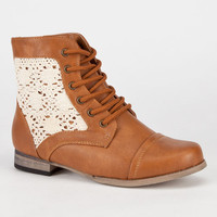 Simply Petals Cablee Girls Boots Cognac  In Sizes