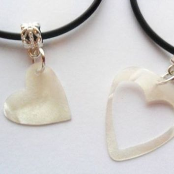 White guitar pick necklace his and her's heart set, heart best friends set | eBay