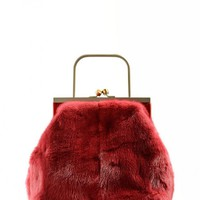 Falorni - Mink fur handbag in red - F1339 - Save money at Mood54