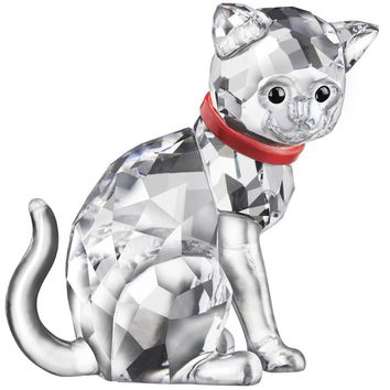 Swarovski Clear Crystal Figurine CAT MOTHER Red Collar #5268835