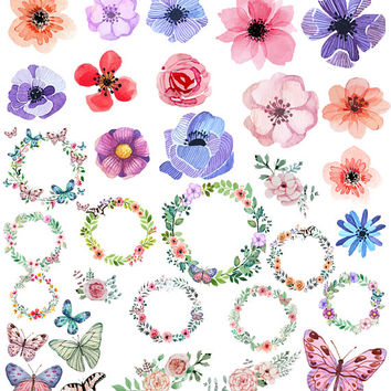 Watercolor floral and butterfly set. Flowers. Butterfly. Painting clipart. Handpainted floral clipart. Digital clipart. Commercial use.