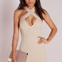Missguided - Crepe Cross Strap Mini Dress Nude