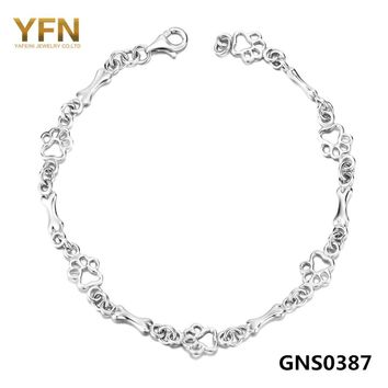 Pulseras Genuine 925 Sterling Silver Fashion Women Bracelets Dog Paw and Bone Jewelry Chain Bracelet