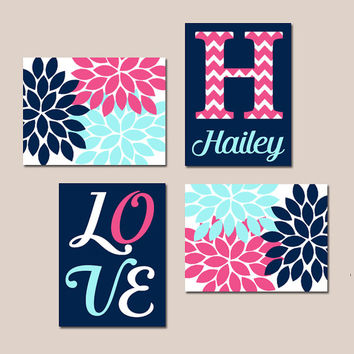 NAVY PINK Aqua Nursery Baby GIRL Wall Art Canvas or Prints Love Flower Burst Bedroom Artwork Girl Monogram Name Set of 4 Match Crib Decor