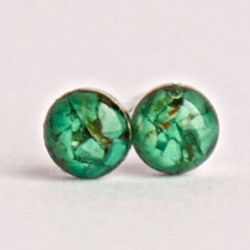 4mm Green Turquoise Stud Earrings. Tiny Green Turquoise Studs. Tiny Turquoise Earrings.  Turquoise Studs. Turquoise Stone Earrings.