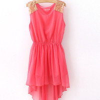 RED WATERMELON SEQUIN SHOULDER HIGH-LOW CHIFFON DRESS