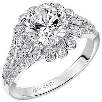 "Artcarved ""Irina"" Halo Split Shank Diamond Engagement Ring"