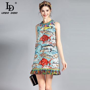 LD LINDA DELLA New 2018 Fashion Runway Summer Dress Women's Sleeveless Charming Seabed Fish Print Tassel Beading Elegant Dress