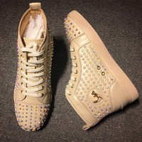 DCCK Cl Christian Louboutin Louis Spikes Style #1821 Sneakers Fashion Shoes