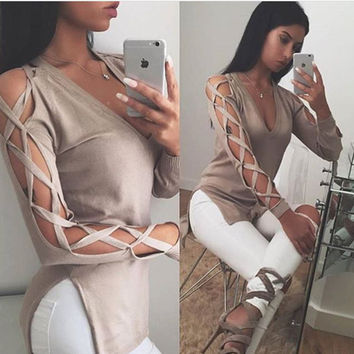 Ladies Long Sleeve Irregular Knit Tops Sexy Hoodies [9521387140]