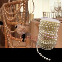 20m / Roll Ivory 8mm ABS Plastic Faux Pearl Beads Curtain Strands Wedding Favors Party Garland Decoration (Size: 20m, Color: Ivory) = 1932336196