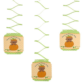 Little Pumpkin African American - 3 Personalized Birthday Party Hanging Decorations