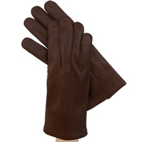 Brown Men's Leather Gloves  w/ Hand Sewn Outside Stitching, Cashmere Lining