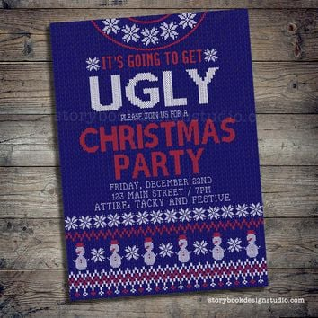 Blue Christmas Sweater Party Invitation