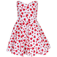 Red Heart Print Prom Dress