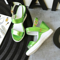 Summer Fashion Women's Shoes - Lace Up platform Sandals green = 4777191492