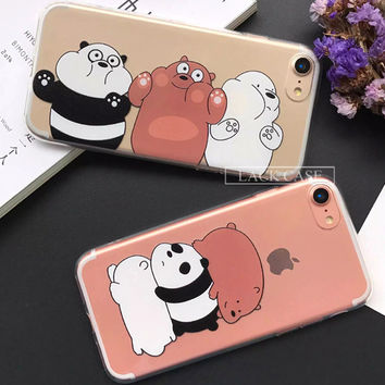 Lovely Cartoon Animal Bear Capa For iPhone 7 Case Cute Panda Soft TPU Phone Cases For iPhone7 6 6S Plus Fashion Newest Fundas -Girllove100