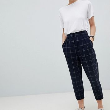 ASOS PETITE Grid Check Tailored Tapered PANTS at asos.com