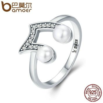 BAMOER Genuine 100% 925 Sterling Silver Music Melody Notes Wedding Band Finger Ring Women Anniversary Ring Jewelry S925 SCR201