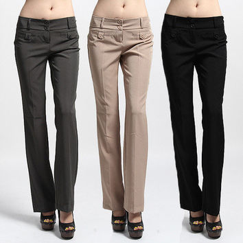 MOGAN Two Button Basic Trousers BOOT-CUT Flared PANTS Formal Office Evening Look
