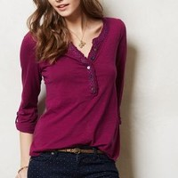 Reagan Henley by Anthropologie Raspberry Xs Tops