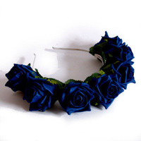 Crown and Glory Hair Accessories — Whole Lotta Rosie Headband - Navy