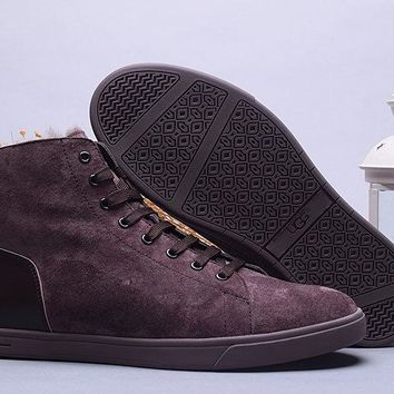 LFMON UGG 1008165 Tall Suede Men Fashion Casual Wool Winter Snow Boots Chocolate