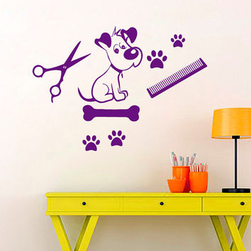 Cat Dog Wall Decal Pet Shop Vinyl Stickers Pet Grooming Salon Decal Scissors Art Mural Home Design Interior Living Room Animals Decor KI47